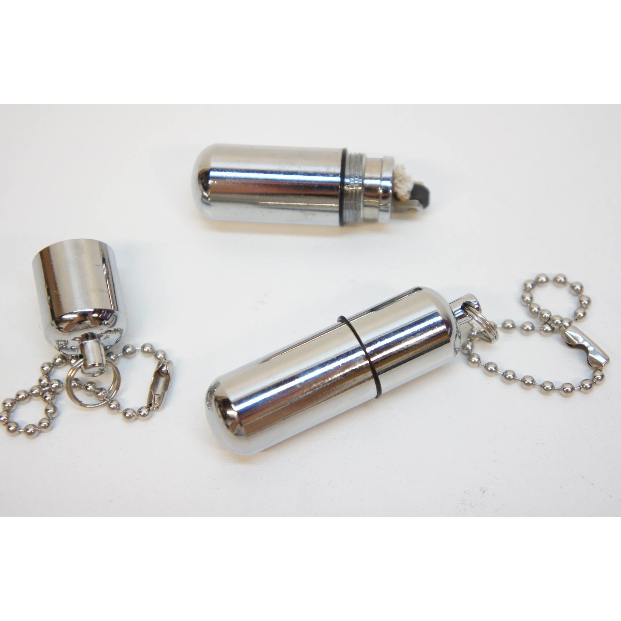 Survival Waterproof Cigarette Flint Lighter Silver - Mini Peanut Capsule Outdoor Oil Lighter - Fire Starter Key Chain Lighter - WoodStonePipes.com   - 3