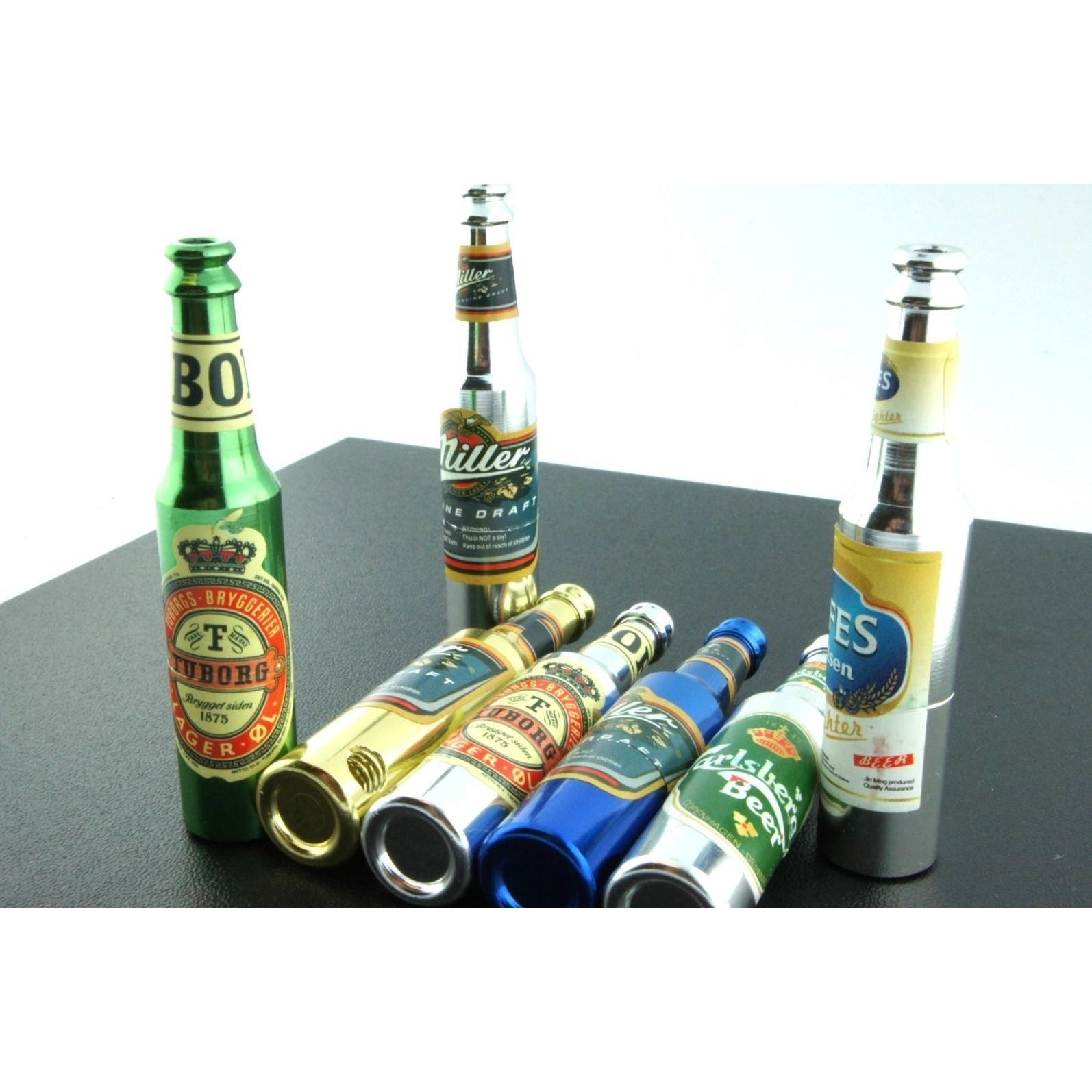 "3"" Mini Metal Smoking Pipe Hidden Portable Hand Pipe - Multi-Colored Bottle Shaped Pipe - WoodStonePipes.com   - 1"
