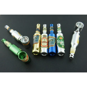 "3"" Mini Metal Smoking Pipe Hidden Portable Hand Pipe - Multi-Colored Bottle Shaped Pipe - WoodStonePipes.com   - 2"