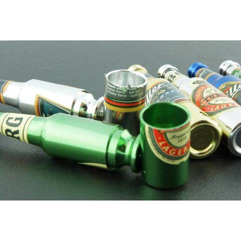 "3"" Mini Metal Smoking Pipe Hidden Portable Hand Pipe - Multi-Colored Bottle Shaped Pipe - WoodStonePipes.com   - 3"