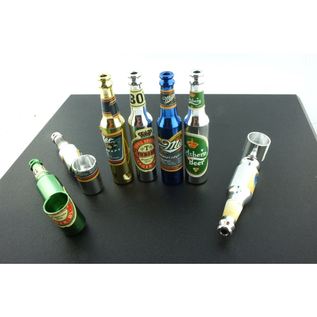 "3"" Mini Metal Smoking Pipe Hidden Portable Hand Pipe - Multi-Colored Bottle Shaped Pipe - WoodStonePipes.com   - 4"