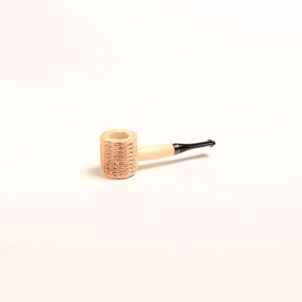 Miniature Corn Cob Pipe - with Black and Amber Bit - WoodStonePipes.com   - 1