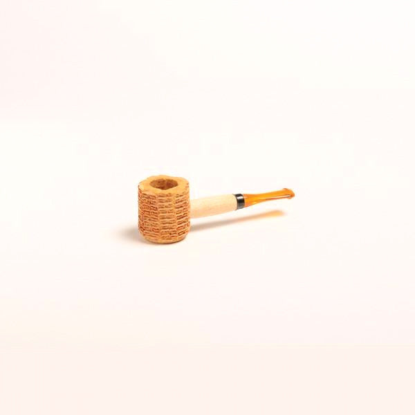 Miniature Corn Cob Pipe - with Black and Amber Bit - WoodStonePipes.com   - 2
