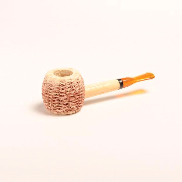 Morgan Corn Cob Pipe - with Amber and Black Bit - WoodStonePipes.com   - 1