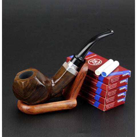 Hexagon Ebony Wood Tobacco Pipe - 9mm Filters - Wood Pipe Holder