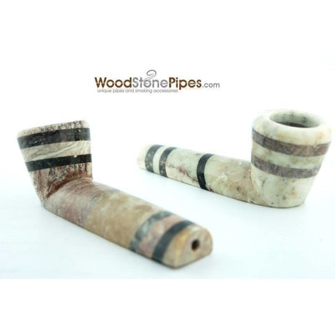 "3.5"" Soapstone Smoking Tobacco Pipe - Tri Tone Marble Colored Mini Hand Pipe - WoodStonePipes.com   - 3"