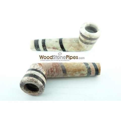 "3.5"" Soapstone Smoking Tobacco Pipe - Tri Tone Marble Colored Mini Hand Pipe - WoodStonePipes.com   - 4"