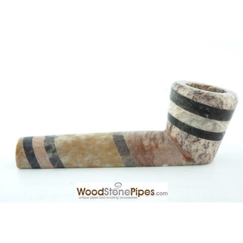 "3.5"" Soapstone Smoking Tobacco Pipe - Tri Tone Marble Colored Mini Hand Pipe - WoodStonePipes.com   - 6"