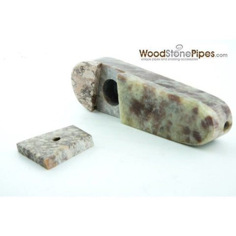 "3"" Marble Colored Hand Stone Smoking Tobacco Pipe with Sliding Lid - WoodStonePipes.com   - 1"