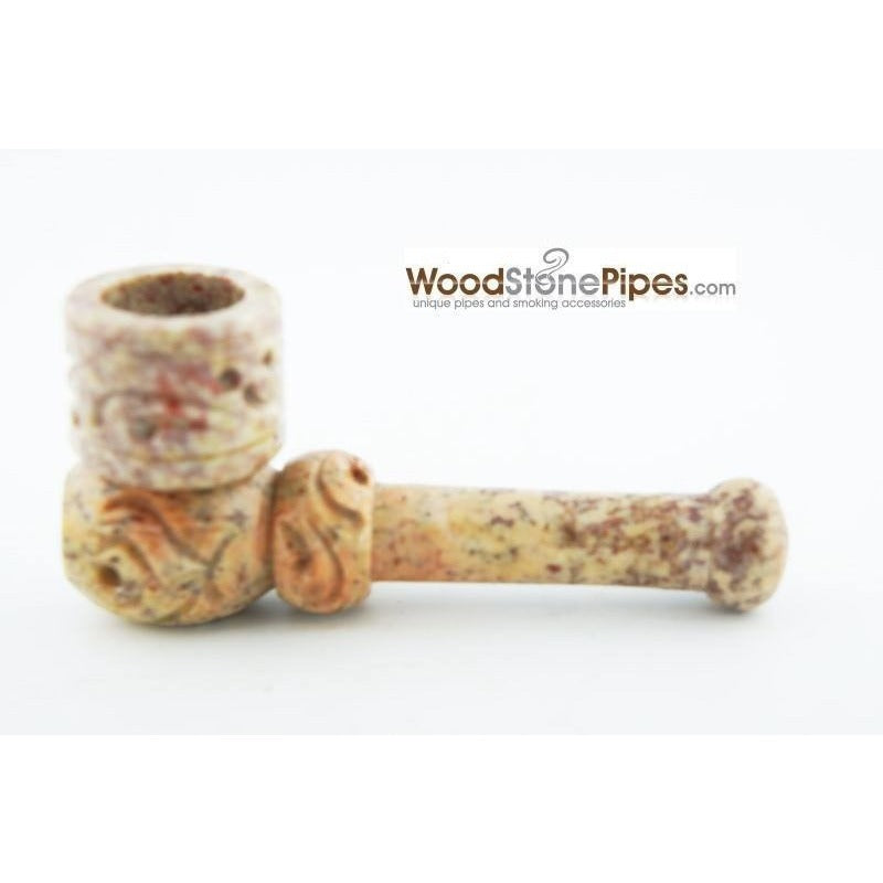 "3"" Mini Soapstone Pipe - Marble Colored Smoking Tobacco Stone Pipe - WoodStonePipes.com   - 2"