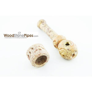 "3"" Mini Soapstone Pipe - Marble Colored Smoking Tobacco Stone Pipe - WoodStonePipes.com   - 3"