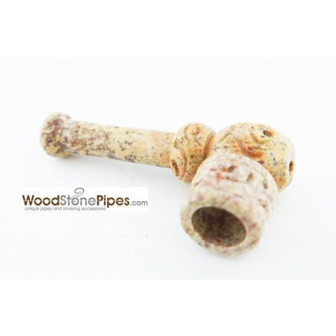 "3"" Mini Soapstone Pipe - Marble Colored Smoking Tobacco Stone Pipe - WoodStonePipes.com   - 4"