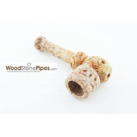 "3"" Mini Soapstone Pipe - Marble Colored Smoking Tobacco Stone Pipe - WoodStonePipes.com   - 5"