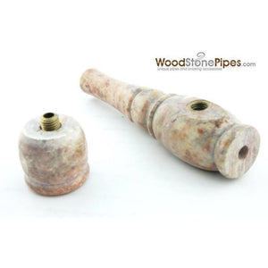 "3"" Mini Soapstone Smoking Tobacco Stone Pipe - Marble Colored - WoodStonePipes.com   - 6"