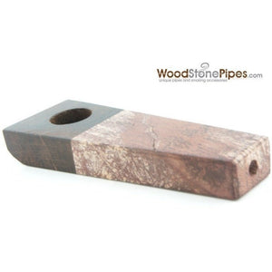 "3"" Rosewood and Stone Tobacco Hand Pipe - WoodStonePipes.com   - 2"