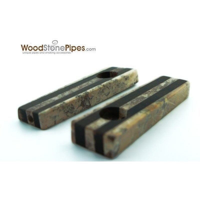 "3"" Soapstone and Wood Tobacco Hand Pipe - WoodStonePipes.com   - 1"