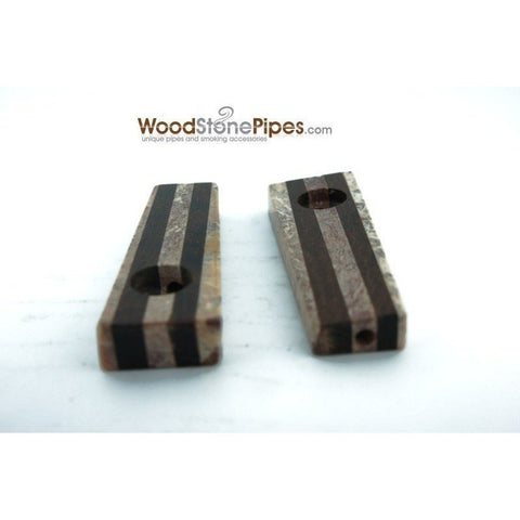 "3"" Soapstone and Wood Tobacco Hand Pipe - WoodStonePipes.com   - 4"