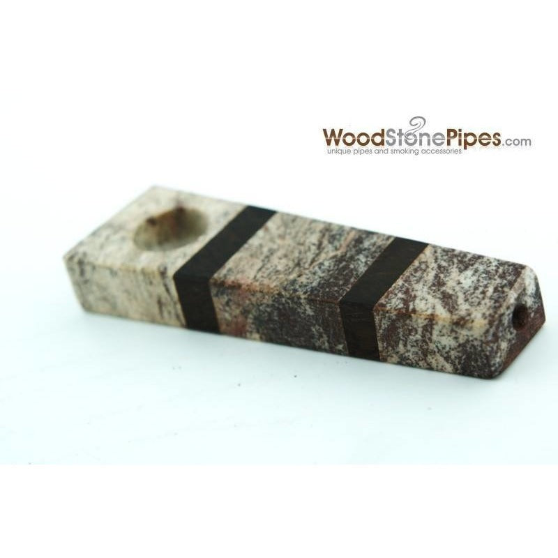 "3"" Wood and Stone Tobacco Hand Pipe - WoodStonePipes.com   - 3"