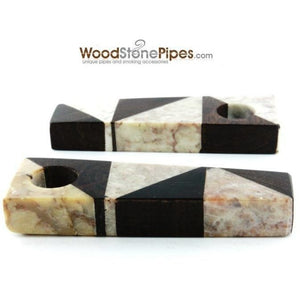 "3"" Wood Stone Mini Marble Smoking Pipe - WoodStonePipes.com   - 4"