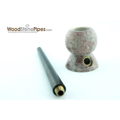 "4"" Wood Stone Smoking Tobacco Pipe - Unique Design Hand Pipe - WoodStonePipes.com   - 1"