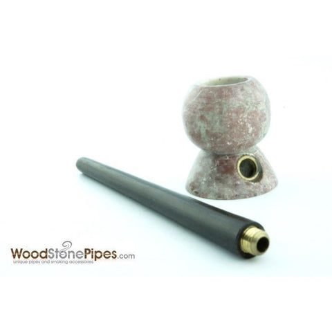 "4"" Wood Stone Smoking Tobacco Pipe - Unique Design Hand Pipe - WoodStonePipes.com   - 2"