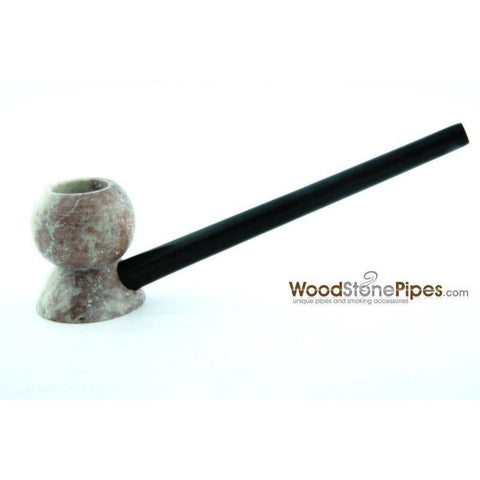 "4"" Wood Stone Smoking Tobacco Pipe - Unique Design Hand Pipe - WoodStonePipes.com   - 3"