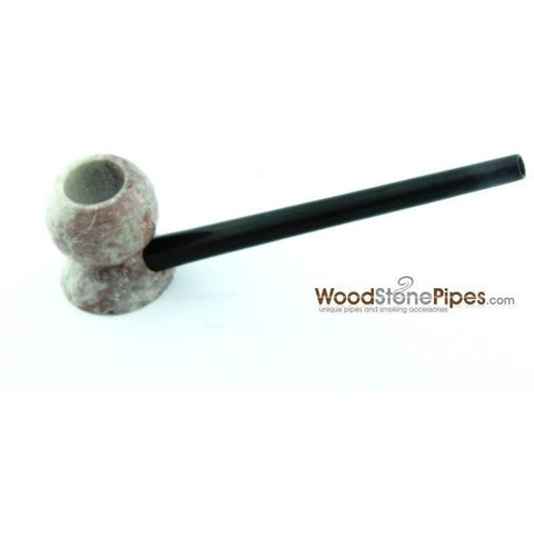 "4"" Wood Stone Smoking Tobacco Pipe - Unique Design Hand Pipe - WoodStonePipes.com   - 4"