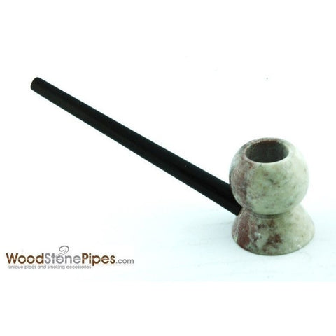 "4"" Wood Stone Smoking Tobacco Pipe - Unique Design Hand Pipe - WoodStonePipes.com   - 5"