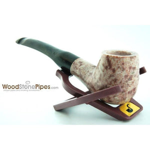 "5"" Tobacco Pipe Collectible Smoking Pipe - Estate Marble Stone Bowl Rosewood Stem - WoodStonePipes.com   - 2"