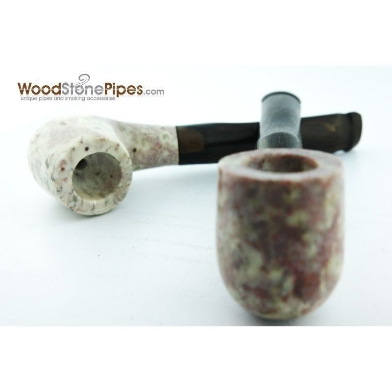 "5"" Tobacco Pipe Collectible Smoking Pipe - Estate Marble Stone Bowl Rosewood Stem - WoodStonePipes.com   - 4"