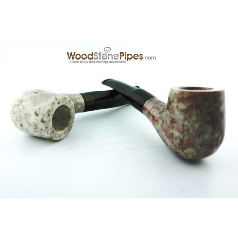 "5"" Tobacco Pipe Collectible Smoking Pipe - Estate Marble Stone Bowl Rosewood Stem - WoodStonePipes.com   - 5"