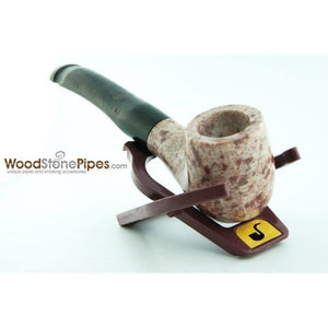 "5"" Tobacco Pipe Collectible Smoking Pipe - Estate Marble Stone Bowl Rosewood Stem - WoodStonePipes.com   - 7"