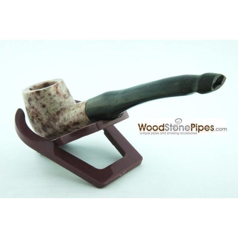 "5"" Tobacco Pipe Collectible Smoking Pipe - Estate Marble Stone Bowl Rosewood Stem - WoodStonePipes.com   - 9"