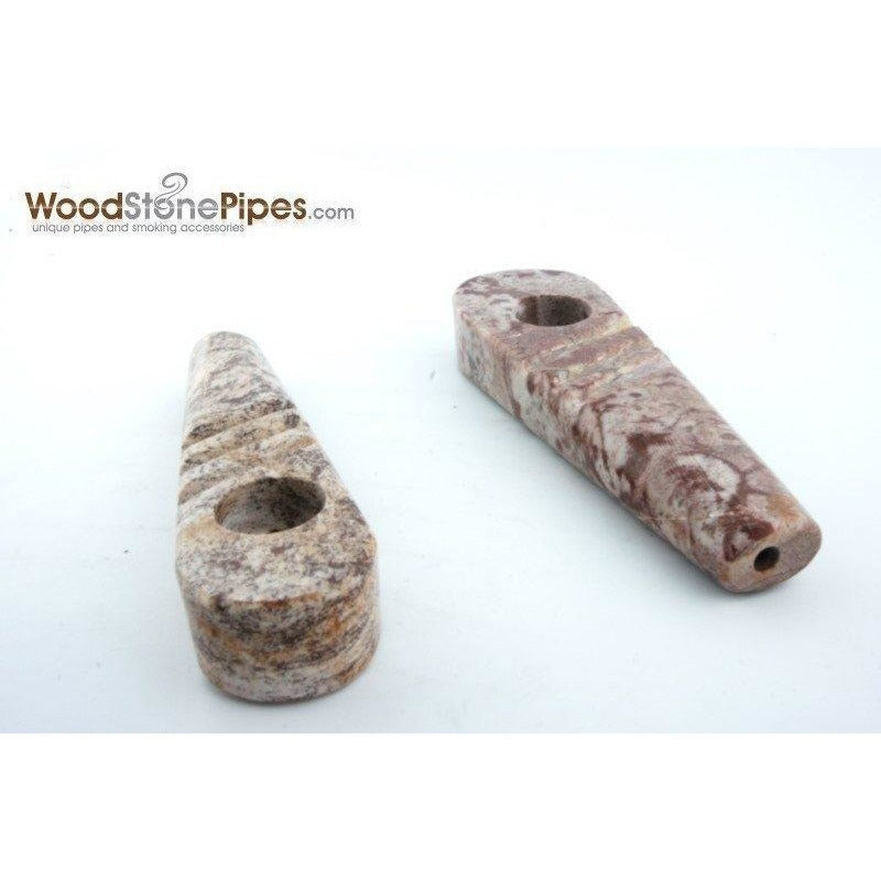 "Marble Colored Hand Stone Pipe - Smoking Tobacco Pipe - Collectible Pipe - 3.5"" - WoodStonePipes.com   - 2"