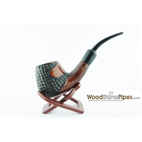 "5.5"" Engraved Brandy Rosewood Pipe - WoodStonePipes.com   - 1"