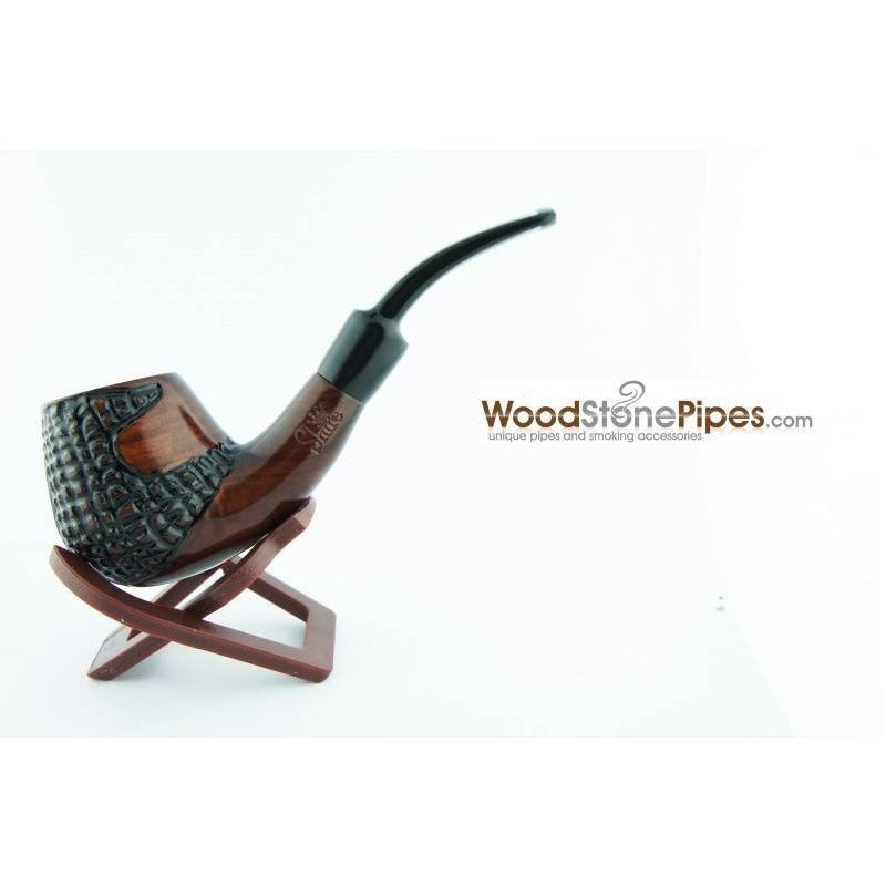 "5.5"" Engraved Brandy Rosewood Pipe - WoodStonePipes.com   - 2"