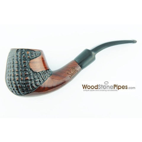 "5.5"" Engraved Brandy Rosewood Pipe - WoodStonePipes.com   - 4"