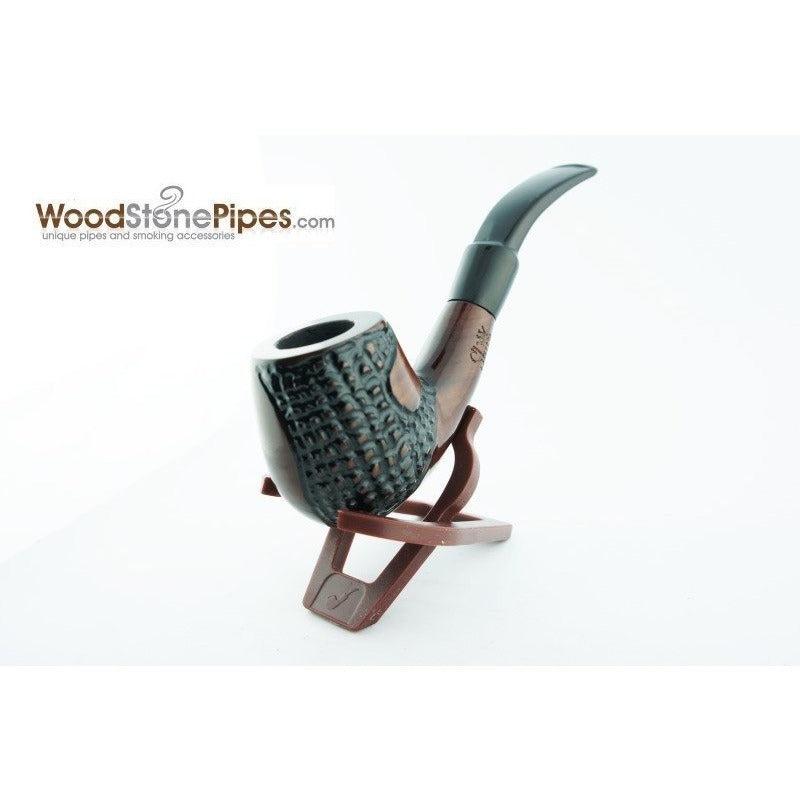 "5.5"" Engraved Brandy Rosewood Pipe - WoodStonePipes.com   - 5"