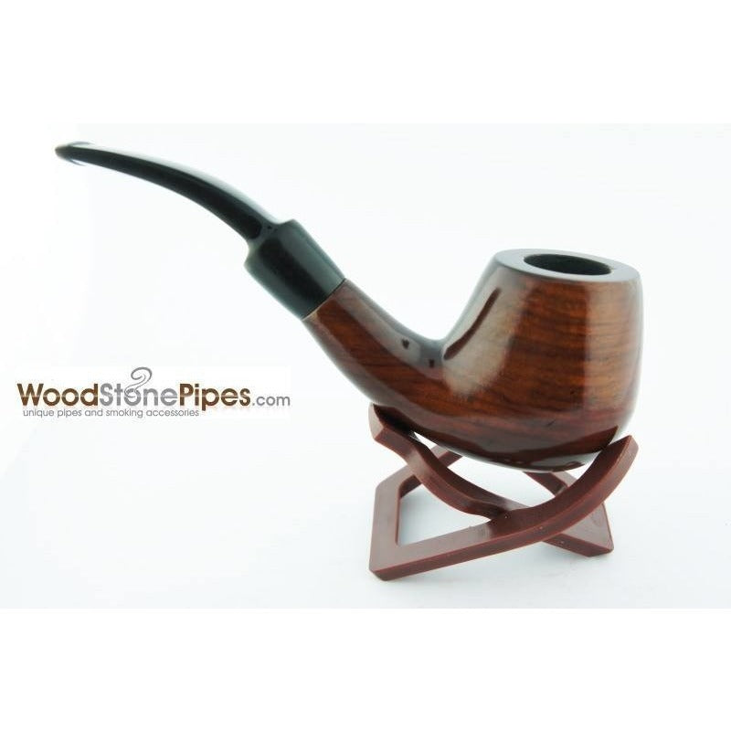"5.5"" Engraved Brandy Rosewood Pipe - WoodStonePipes.com   - 6"