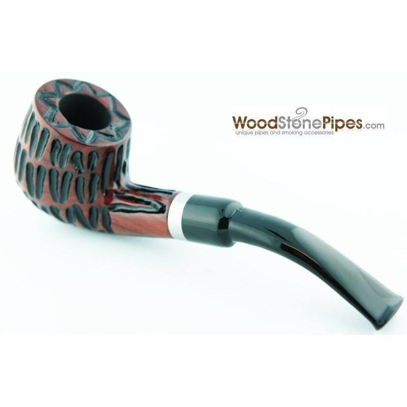 "5"" Tobacco Pipe - Engraved Traditional Style Bent Stem Smoking Tobacco Pipe with Charcoal Filter - WoodStonePipes.com   - 1"