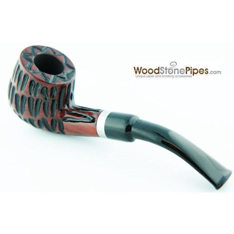 "5"" Tobacco Pipe - Engraved Traditional Style Bent Stem Smoking Tobacco Pipe with Charcoal Filter"
