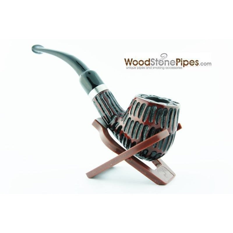 "5"" Tobacco Pipe - Engraved Traditional Style Bent Stem Smoking Tobacco Pipe with Charcoal Filter - WoodStonePipes.com   - 3"