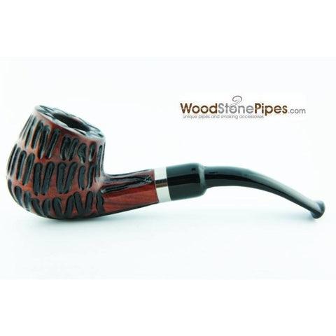 "5"" Tobacco Pipe - Engraved Traditional Style Bent Stem Smoking Tobacco Pipe with Charcoal Filter - WoodStonePipes.com   - 4"