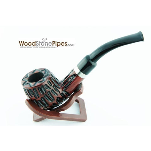 "5"" Tobacco Pipe - Engraved Traditional Style Bent Stem Smoking Tobacco Pipe with Charcoal Filter - WoodStonePipes.com   - 5"