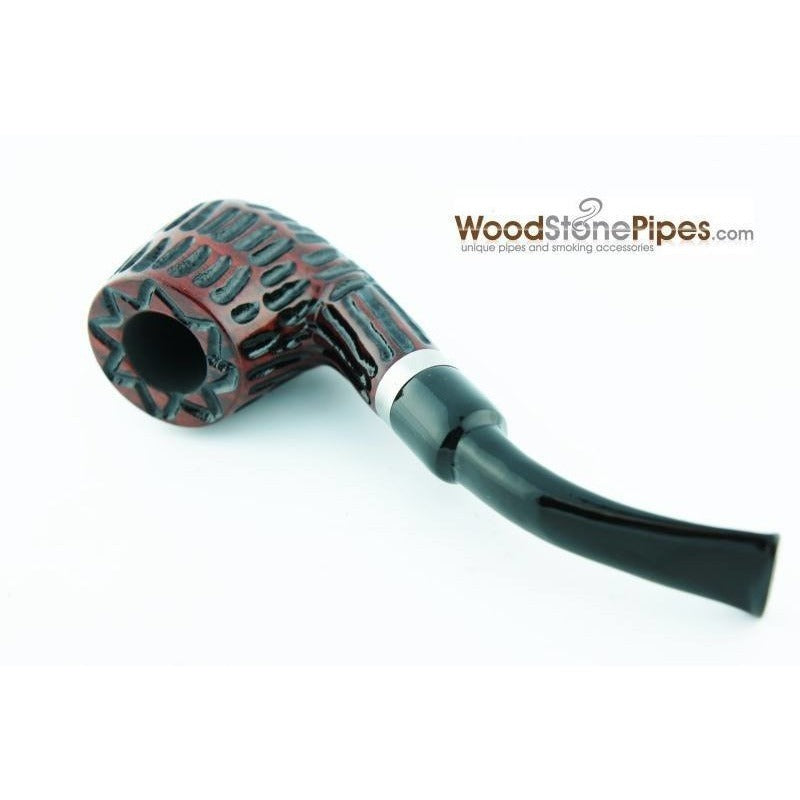 "5"" Tobacco Pipe - Engraved Traditional Style Bent Stem Smoking Tobacco Pipe with Charcoal Filter - WoodStonePipes.com   - 6"