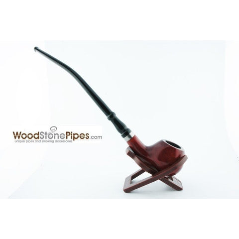 "Bent Churchwarden Rosewood Wood Tobacco Pipe w/5"" Stem - WoodStonePipes.com   - 3"