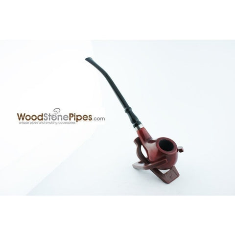 "Bent Churchwarden Rosewood Wood Tobacco Pipe w/5"" Stem - WoodStonePipes.com   - 4"