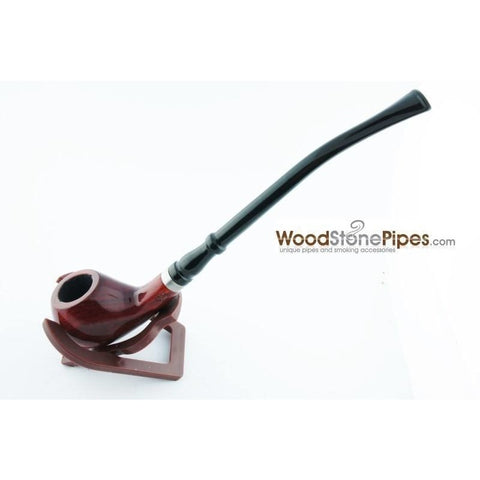 "Bent Churchwarden Rosewood Wood Tobacco Pipe w/5"" Stem - WoodStonePipes.com   - 5"