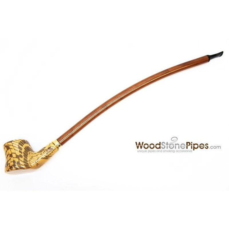 "Extra Long Churchwarden Tobacco Pipe - 15"" Snake Skin Pattern Design Wizard Pipe - WoodStonePipes.com   - 1"