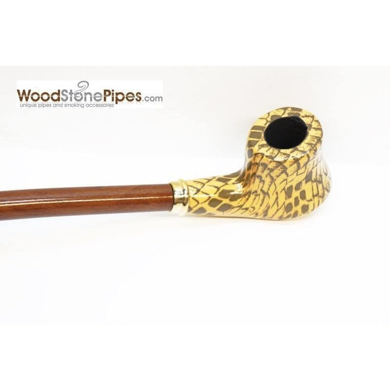 "Extra Long Churchwarden Tobacco Pipe - 15"" Snake Skin Pattern Design Wizard Pipe - WoodStonePipes.com   - 10"